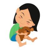 Kind umarmt eine Puppe Stockbilder