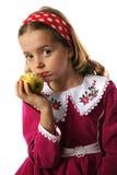 Kind und Apfel stockfoto