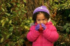 Kind und Apfel am kalten Tag Lizenzfreies Stockbild