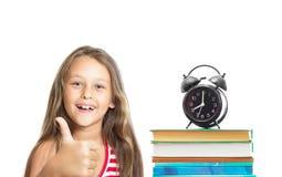 Kind und der Schulsatz Stockfotografie