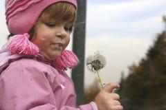 Kind und ein Blow-ball Stockbild