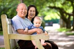 Kind und Großeltern in einem Park Lizenzfreies Stockfoto