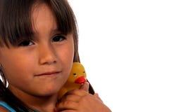 Kind und Gummi Ducky Stockfotografie