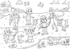 Kind und Haustier in der Parkkarikatur für die Färbung vektor abbildung