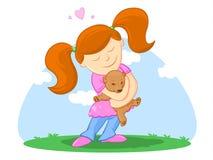 Kind und ihr Teddy BearIllustration Stockfotografie
