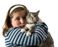 Kind und Katze Stockbild