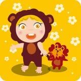 Kind-und Löwe-Spielwaren Stockfotos