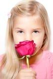 Kind und Rose Lizenzfreies Stockbild