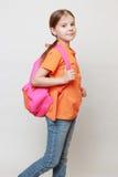 Kind und Schultasche Stockfoto