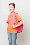 Kind und Schultasche Lizenzfreie Stockbilder