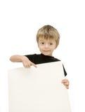 Kind und unbelegtes Zeichen Stockfoto
