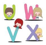 Kind und UVWX-Satz Stockfotos
