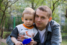 Kind und Vater Stockbild