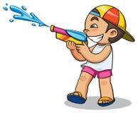 Kind und Wasserwerfer lizenzfreie abbildung
