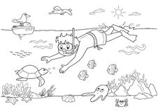 Kind Unterwasser vektor abbildung