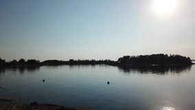 Awesome sunnyday in archipelago by drones poin of view the gulf of Finland stock video