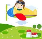 Kind in Vliegtuig Stock Afbeeldingen
