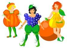 Kind in vruchten kostuums Royalty-vrije Stock Afbeeldingen
