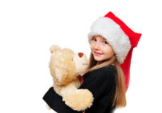 Kind-WeihnachtsTeddybär Lizenzfreie Stockbilder