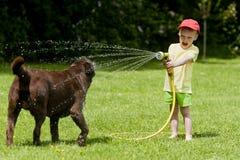 Kind, welches die Hundewasserkühlung spielt Lizenzfreies Stockbild
