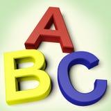 Kind-Zeichen, die ABC buchstabieren Stockfoto