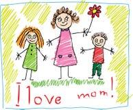 Kind-Zeichnen. Der Tag des Mutter lizenzfreie abbildung