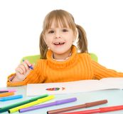 Kind zeichnet lizenzfreies stockfoto