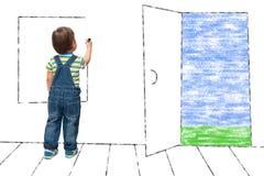 Kind zeichnet ein eingebildetes Fenster stockfotos