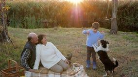 Kind zieht Hund auf Rest mit Großmutter und Großvater auf Hintergrund von kleinem Fluss bei Sonnenuntergang ein stock video footage