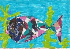 Kindbeeld van vissen in het overzees royalty-vrije illustratie