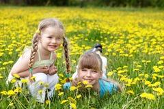 Kinder auf dem Gebiet mit Blume. Lizenzfreie Stockfotografie