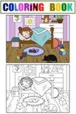 Kinder auf dem Thema des Kindheitsraumfarbtons und -farbe Zeichnen Sie Raum, schlafendes Mädchen, viele Spielwaren Stockbilder