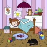 Kinder auf dem Thema des Kindheitsraumfarbtons Zeichnen Sie Raum, schlafendes Mädchen, viele Spielwaren Stockfoto