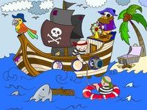 Kinder auf dem Thema des Piratenvektors Lizenzfreie Stockbilder