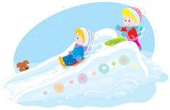 Kinder auf einem Eis-geführten vektor abbildung