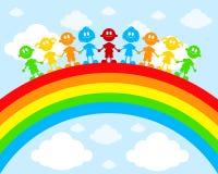 Kinder auf einem Regenbogen stock abbildung