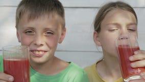 Kinder auf einem weißen Hintergrund trinken Tomatensaft von den Gläsern Getränktomatensaft mit zwei Jungen stock footage