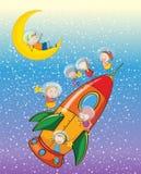 Kinder auf einer Rakete Stockbilder