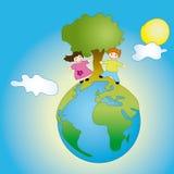 Kinder auf Erde stock abbildung