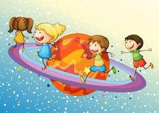 Kinder auf Planeten lizenzfreie abbildung