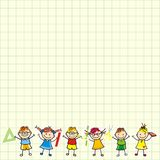 Kinder auf quadratischem Papier lizenzfreie abbildung