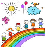 Kinder auf Regenbogen Lizenzfreies Stockbild