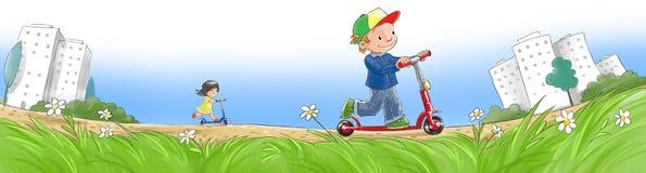 Kinder auf Rollern Stockfotos