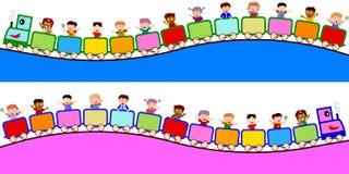 Kinder auf Serien-Rändern Stockbilder