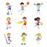 Kinder auf Sommer-Ferien-Sammlung Lizenzfreies Stockfoto