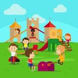 Kinder auf Spielplatz vektor abbildung