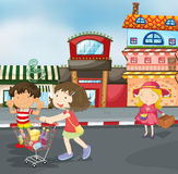 Kinder auf Straße vektor abbildung