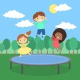 Kinder auf Trampoline lizenzfreie abbildung