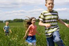 Kinder auf Wiese Stockbild