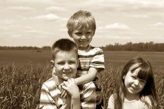 Kinder auf Wiese Stockfotografie